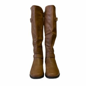 Faux Leather Low Knee Boots Brown CamelZipper Sz 8